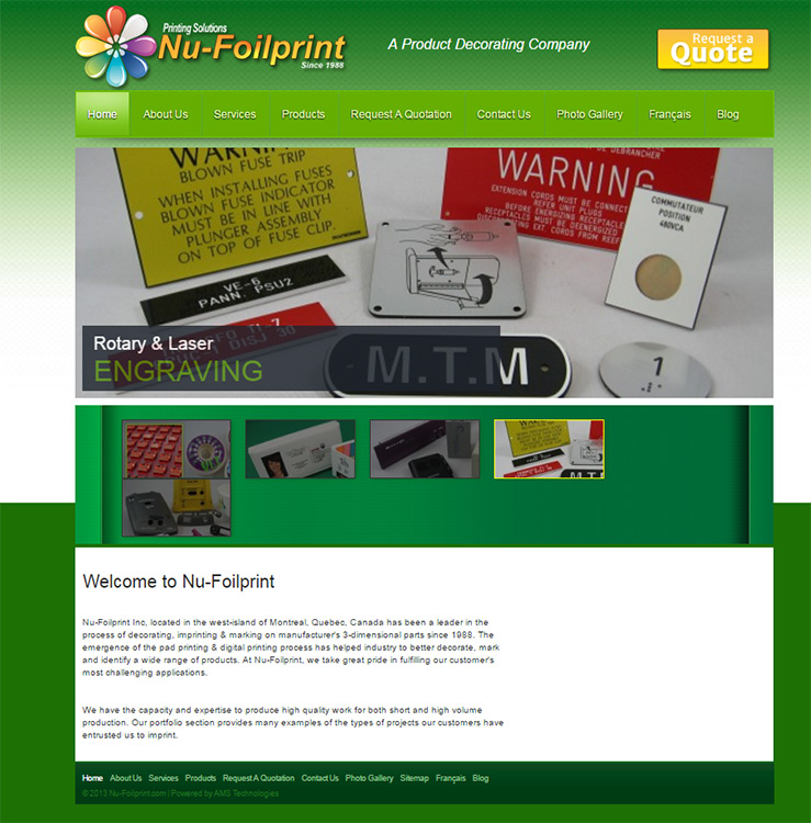 Nu-Foilprint Website Before